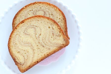 Marble syrup cake on dish 스톡 콘텐츠