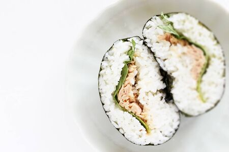 Canned food, tuna fish in Japanese rice ball with shiso herbal