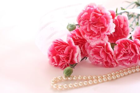 Pearl necklace and carnation