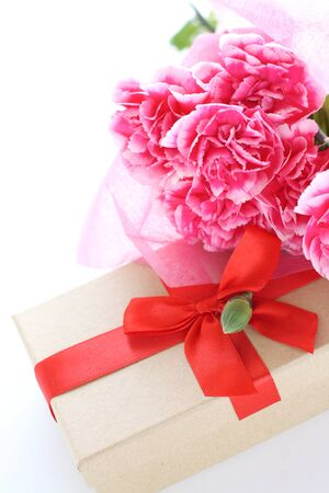 Carnation and gift box with message card