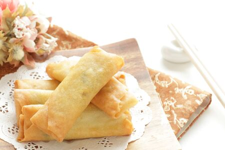 Chinese food, spring roll deep fried dumpling Stock Photo - 131852276