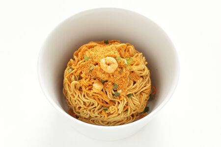 Asian food, instant and noodle seasoning in white bowl