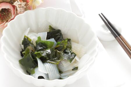 Japanese food, seaweed and konjac salad