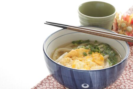 Japanese food, scrambled egg and spring onion noodles