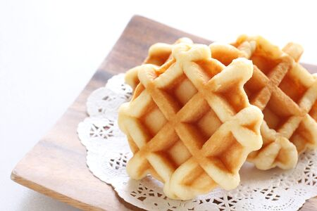 multiple waffle on plate for breakfast image