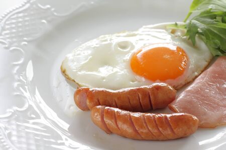 homemade breakfast, sausage and sunny side up