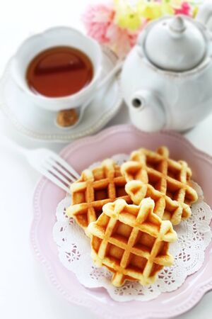 waffle and English tea with flower Stock Photo