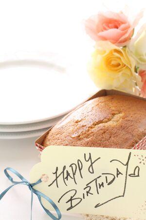 Homemade pound cake and hand written birthday card