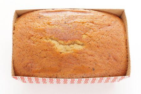 Homemade pound cake on white background