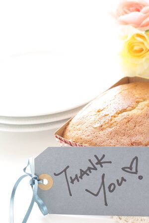 pound cake in paper box and thank you Card 스톡 콘텐츠