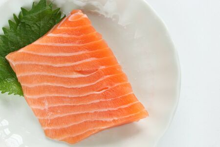 Freshness salmon fish on dish for raw food image