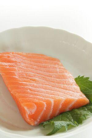 Freshness salmon sashimi on white background with copy space