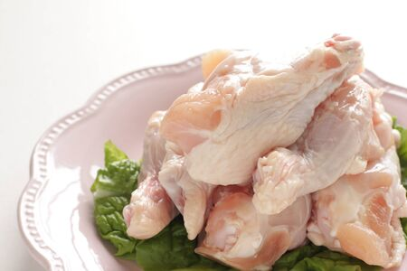 Freshness chicken drumsticks on dish with copy space Stock fotó