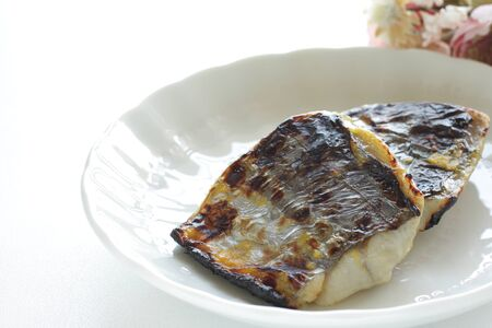 Japanese food, grilled mackerel on dish for healthy food image