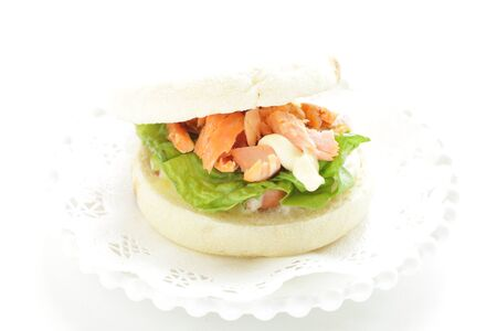 Homemade grilled salmon flake and mayonnaise in English muffin sandwich Reklamní fotografie