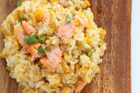 Chinese food, salted salmon fried rice Stock Photo - 132922556