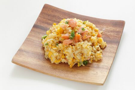 Chinese food, salted salmon fried rice Stock Photo - 132922570