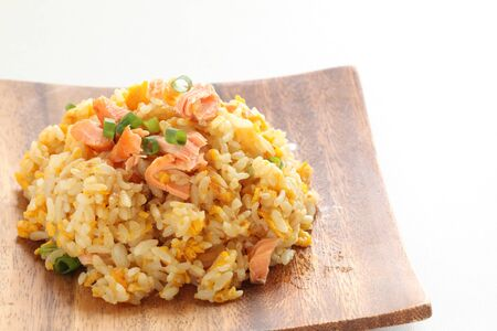 Chinese food, salted salmon fried rice Stock Photo - 132922576