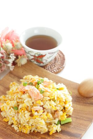 Chinese food, salted salmon fried rice Stock Photo - 132922598
