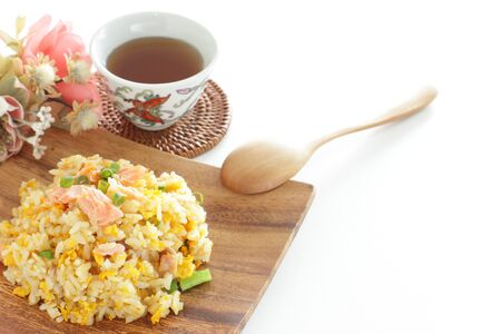 Chinese food, salted salmon fried rice Stock Photo - 132922605