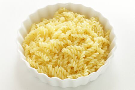 Dried short pasta, Boiled Fusilli in bowl