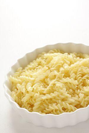 D pasta short, boiled Fusilli in bowl