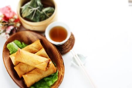 Chinese food, spring roll and tea