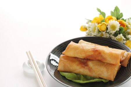 Chinese food, spring roll on dish dim sum