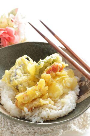 Japanese food, asparagus and vegetable Tempura on Rice 版權商用圖片