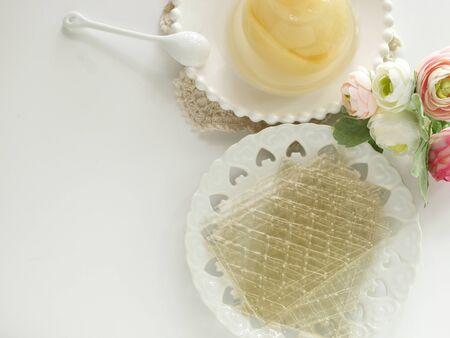 Gelatin sheet on dish for cooking ingredient image