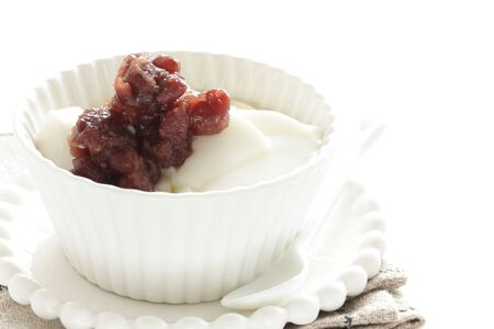 Freshness honey yogurt and red bean paste Banco de Imagens
