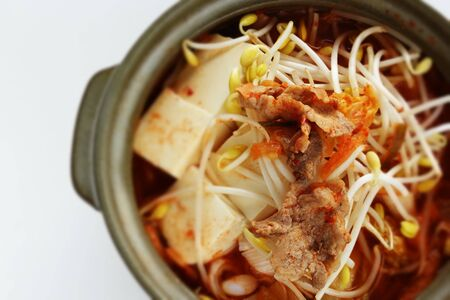 Korean food, kimchi and kimchi and kimchi and pork with tofu hot pot