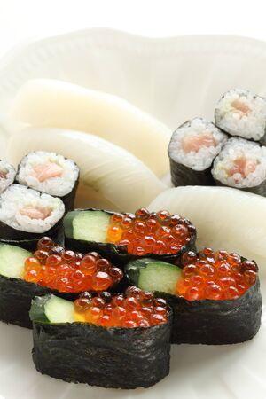 Japanese food, assorted Ikura raw roe sushi