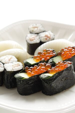 Japanese food, assorted Ikura raw roe sushi
