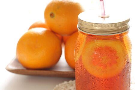 Freshness orange and jar drink tea Banco de Imagens - 134067861