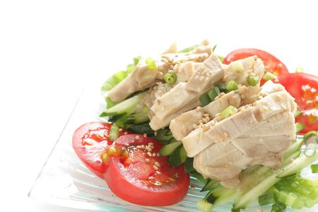 Chinese summer cuisine, chicken and vegetable with sesame sauce