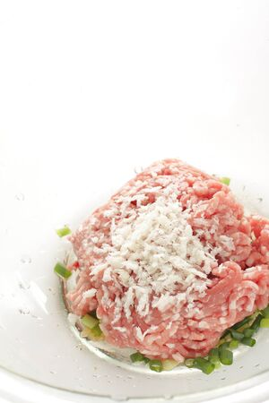 Ground pork and beef with seasoning and seasoning for patty ingredient 版權商用圖片