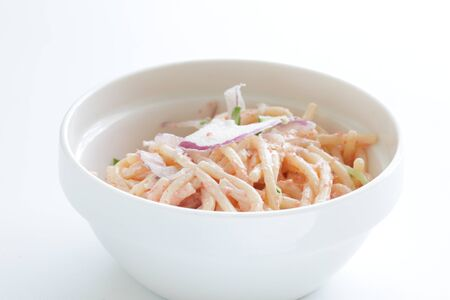Japanese fusion pasta, Mentaiko Roe and mayonnaise spaghetti Stock fotó
