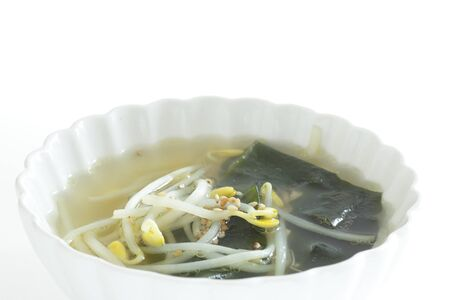 Korean food, seaweed and soy sprout soup with sesame seed on top