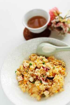 Thai cuisine, octopus and egg fried rice 版權商用圖片 - 138234158
