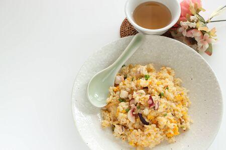 Thai cuisine, octopus and egg fried rice 版權商用圖片 - 138234164