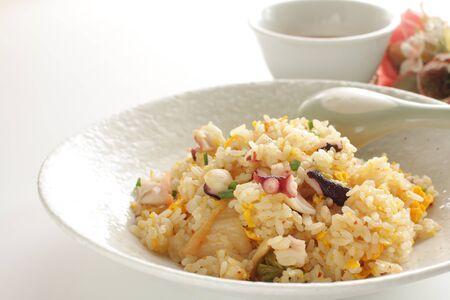 Thai cuisine, octopus and egg fried rice 版權商用圖片