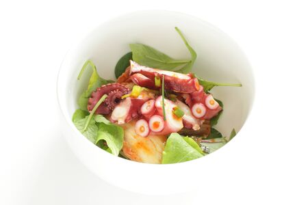 Japanese food, boiled octopus and baby leaf vegetable salad