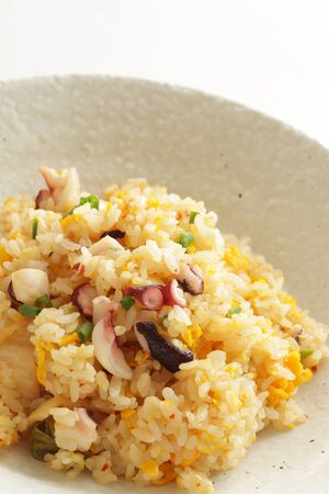 Thai cuisine, octopus and egg fried rice Stock Photo