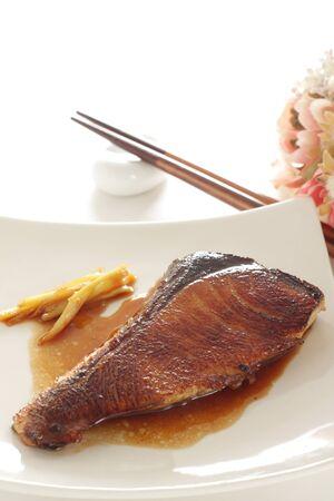 Freshness Japanese yellowtail fish on plate