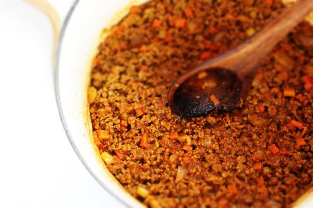 Homemade Keema curry in pot for comfort food cooking Stock fotó