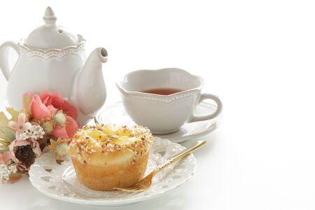 Homemade sweet apple Bun on dish Reklamní fotografie