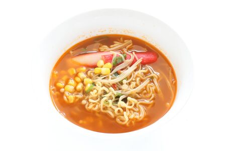 Spicy Noodles, Crab Sticks and Sweet Corn on Top for Asian Lunch Image