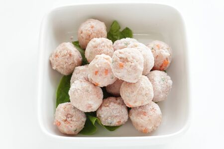 Frozen chicken meat ball in bowl for prepared food