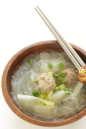 Chinese food, meat pork and rice noodles soup